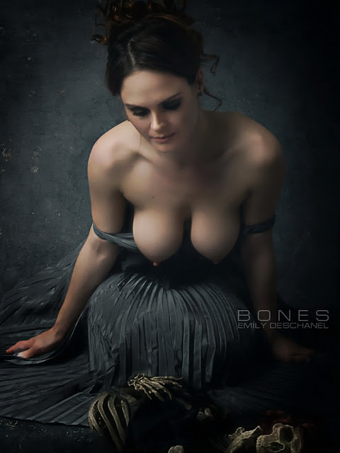 Emily Deschanel topless Bones photoshoot