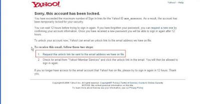 unlock yahoo