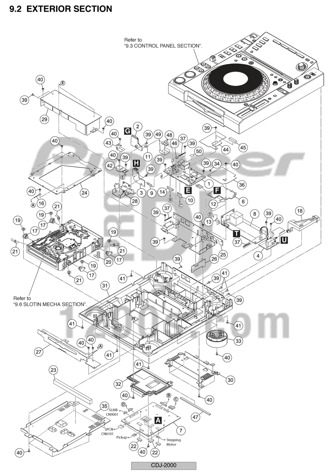 dj pro audio service repairs pioneer cdj2000 exploded view