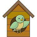 巣箱と鳥の絵
