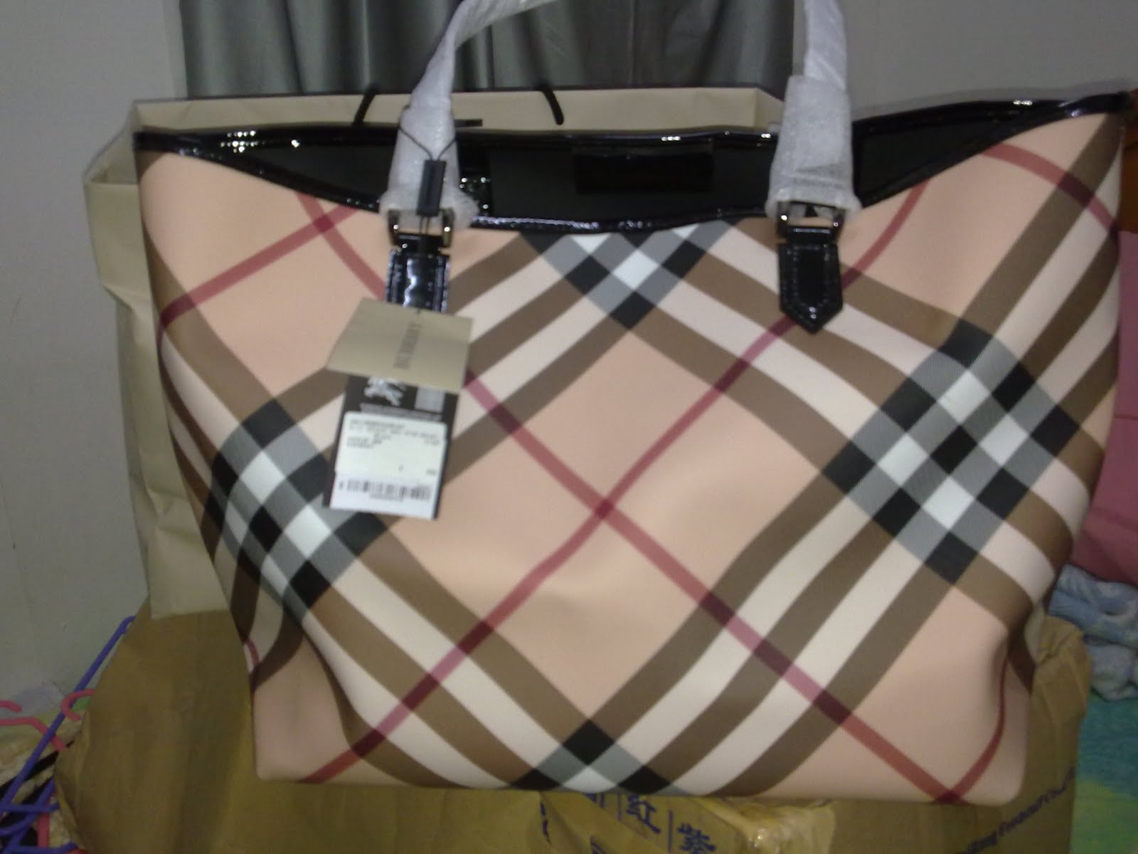 Before i went on the trip, I brought a Burberry Medium Nova Check Tote bag ...