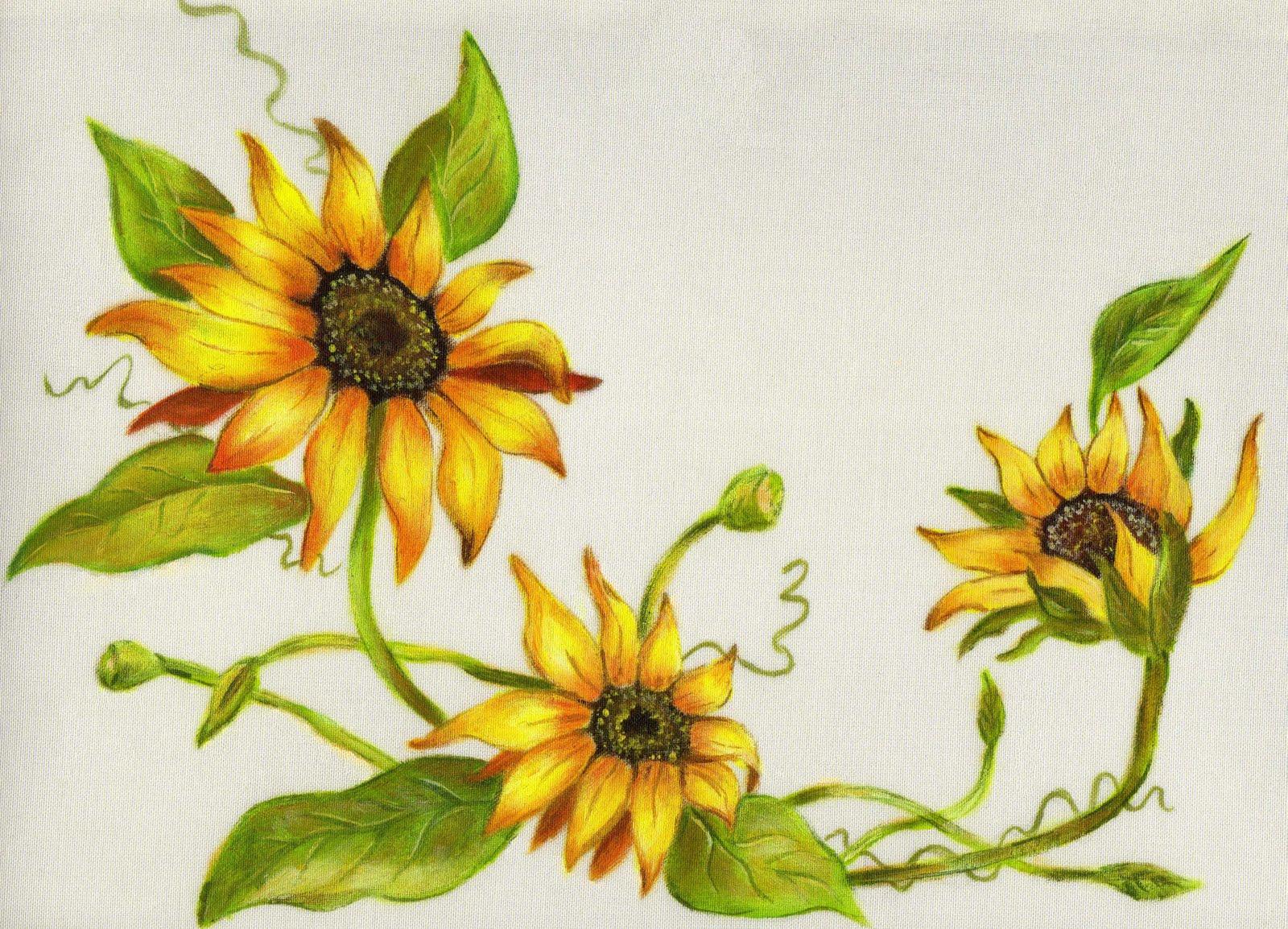 bellasartina Girasoles con pintura de tela Diseo pintado por