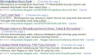 Hasil Indeks Google