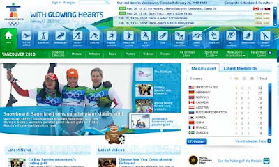 home page of Vancouver Winter Olympics web site