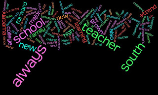 This wordle depicts the different words that describe me. I go to South Alabama where I major in Elementary education. I am the baby of my family and grew up in a small town on the outskirts of Mobile, Al. I am a member of Alpha Omicron Pi Sorority, as well as several other on campus extra curricular activities. I have a deep passion for children as well as for learning. I look forward to exploring the new technology of this blog as well as this class.