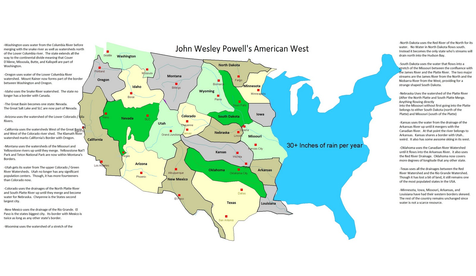 there are many variations of this map this is what i came up with and i think it looks pretty sweet all borders of the western states run along watershed