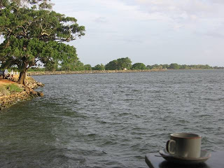 Polonnaruwa Resthouse Sri Lanka cup of tea against parakrama samudra lake