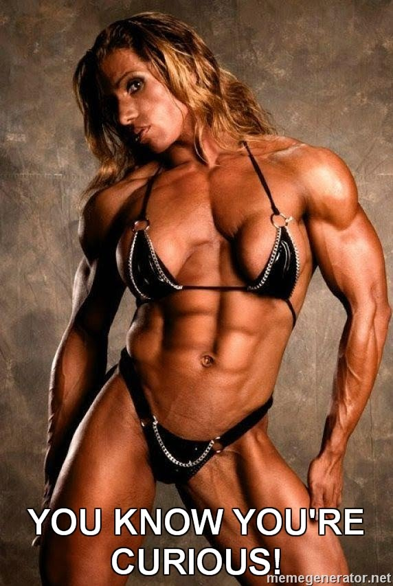 MemeGenerator_White Female Bodybuilder YOU KNOW YOURE CURIOUS one last thing e l v o m i t a r c o m