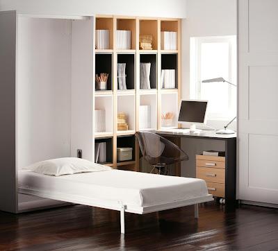 Habitacion con cama abatible vertical de 90cm armario - Mesas de habitacion ...