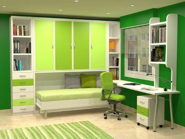 Camas abatibles plegables individuales horizontales de 90cm - Habitaciones modulares juveniles ...