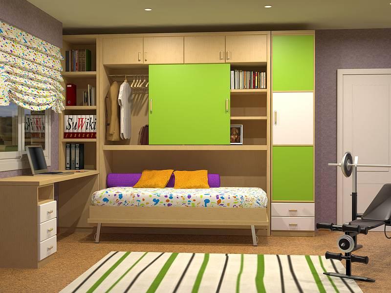 Camas abatibles plegables individuales horizontales de 90cm - Cama empotrada en armario ...