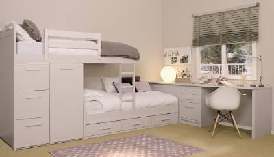Dormitorios infantiles para ni as ni os de 0 1 2 3 4 y 5 a os - Camas tren para ninos ...