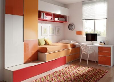 Dormitorio juvenil para dos blanco naranja y rojo con - Dormitorios juveniles para ninas ...