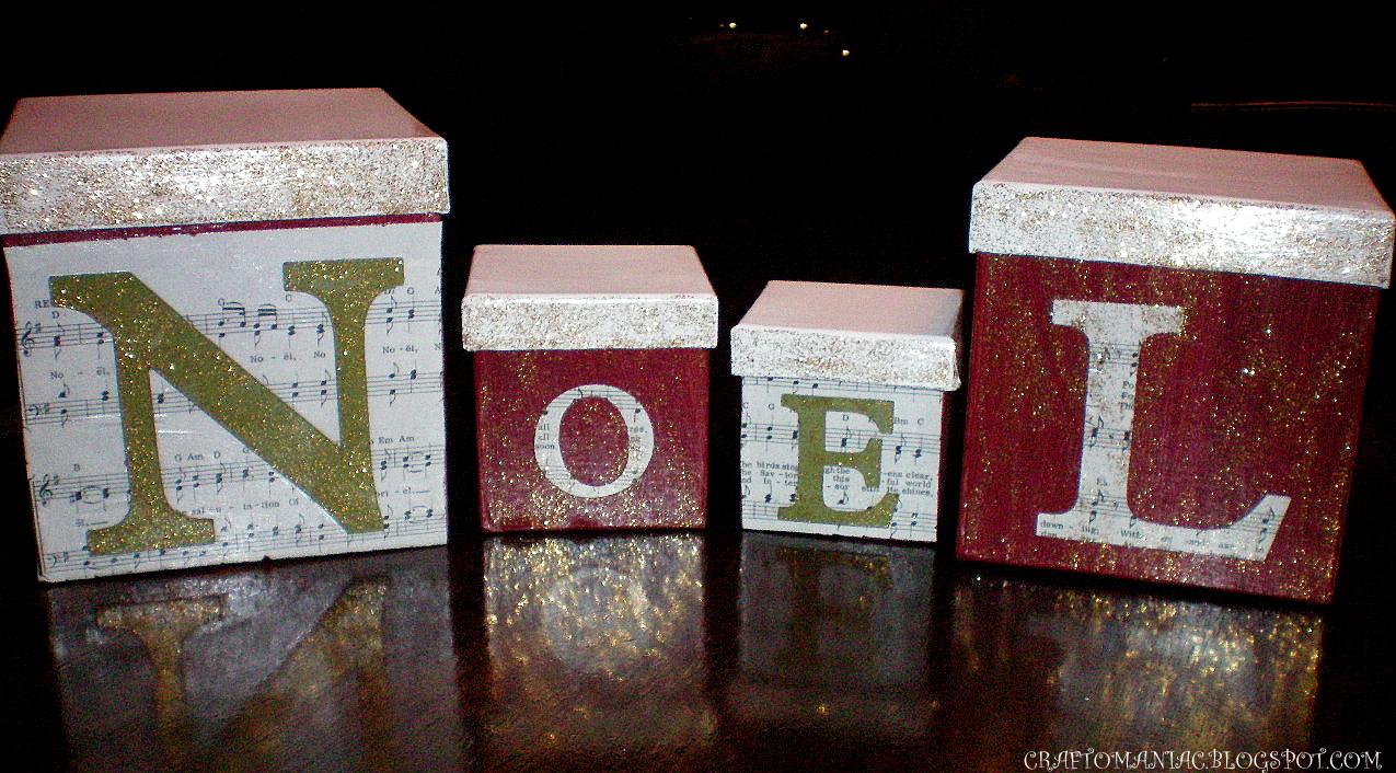 Dollar Store Crafted NOEL boxes w/ tutorial. - Craft-O-Maniac