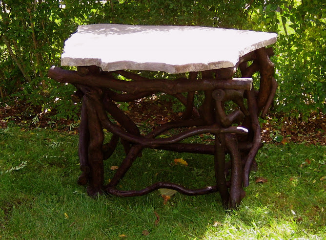 Rhododendron and stone table