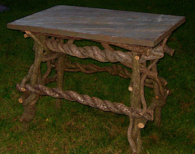 Hand made wooden table with a bluestone top