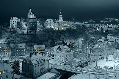Snow Town at Night Picture