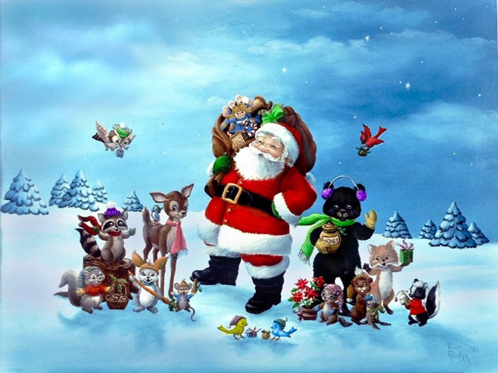Christmas Tree, Santa Claus Wallpapers for Desktop free Backgrounds