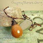 orange aventurine briolette jewelry, copper, wrapped necklace, handmade base metal jewelry, sterling silver wrapped briolette