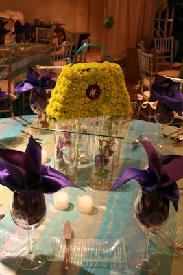 Bat Mitzvah centerpiece, flower purse, Isha Foss Events ,Cavalier Golf, Virginia Beach
