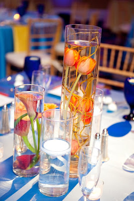Wedding, centerpiece, submerged callas, submerged tulips, tangerine, coral, Isha Foss Events, Hilton Virginia Beach