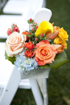 Wedding flowers, tangerine, coral, peach, yellow, roses, callas, Isha Foss Events