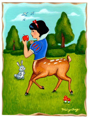 Ming Ong Snow White Doe Deer painting