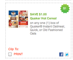 redplumcom has added a ton of printable coupons to their site including the 11 quaker oatmeal some of these can reach the print limit quickly so be sure