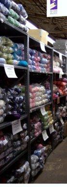 Inside Web's back room, there is nothing but yarn as far as the eye can see!