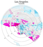 Los Angeles map showing per capita income as intensity with a donut-shaped distribution, poorest at city core