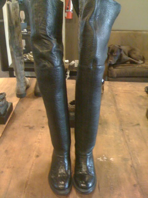 thigh high flat leather boots tsaa heel