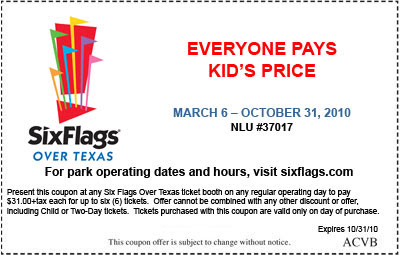 Six Flags Over Texas Coupons, Savings and Theme Park Description for Located in Arlington midway between Dallas and Fort Worth, Six Flags Over Texas is the original park of the theme park chain and the name comes from the six different flags that have flown over the state of Texas.