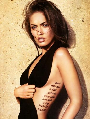 tattoo quote ideas. megan fox side tattoo