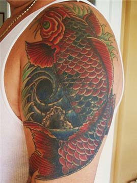 Tribal Koi Tattoo for Hand Man