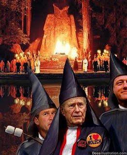 Bohemian Grove (Club Elitista) - Adoradores de Moloch (Demonio) Bush+bohemian