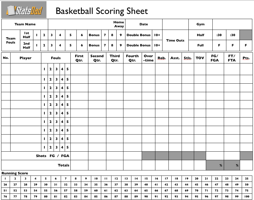 Clean image for basketball stat sheet printable