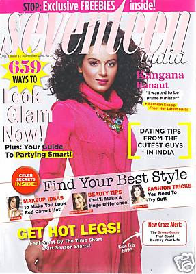 Kangana Ranaut Seventeen Magazine Scans Photos