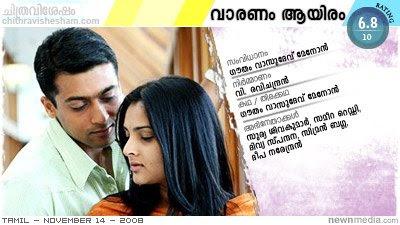 Vaaranam Aayiram - A Film by Gautham Vasudev Menon; Starring Surya (Suriya) Sivakumar, Sameera Reddy, Divya Spandana, Simran Bagga, Deepa Narendran.