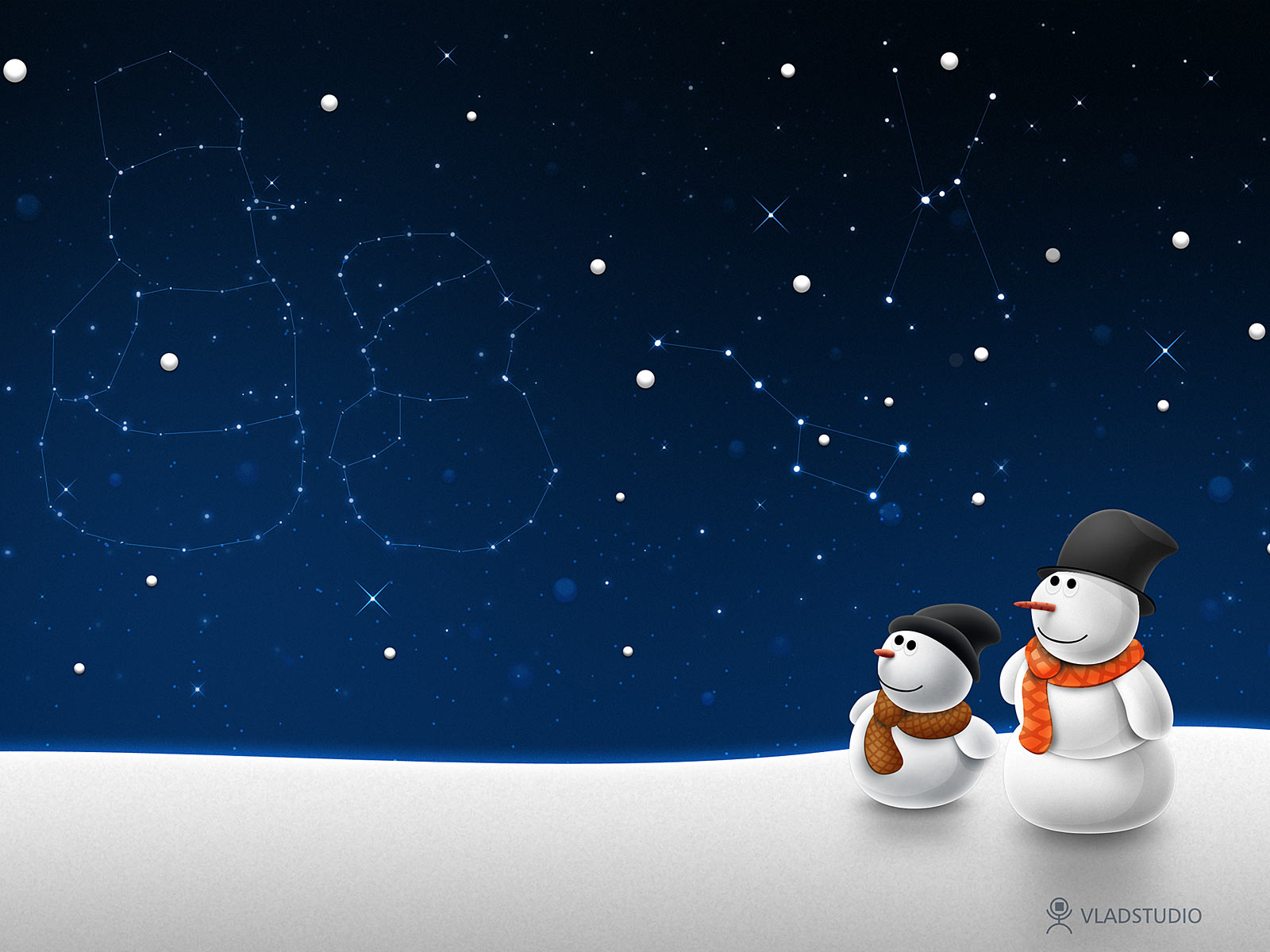 Christmas snow wallpaper image : Beautiful Dark Blue sky , stars , Snow men.