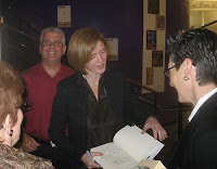 Samantha Power at book signing. Friend Dave in the background.
