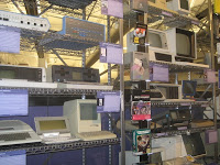 Racks of old computers at Computer History Museum