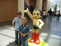 The kids with Astro Boy at the Asian Art Museum