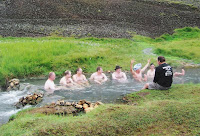 Soaking in a volcanically-warmed river