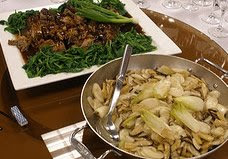 Tea Braised Duck (top), Stir Fried New Year's Cake with Imported Winter Bamboo (bottom)