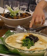 Chef Olivia's 'Shrooms and Shoots (top) and Three-Egg Chawan Mushi (egg custard) (bottom)
