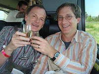 GuyDads toasting on the Big Gay Wine Tour Bus