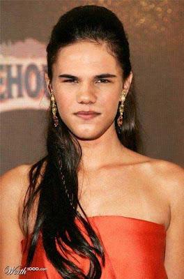 justin-taylor-como-chicas-fotos-2 Justin Bieber y Taylor Lautner con rostros de mujeres