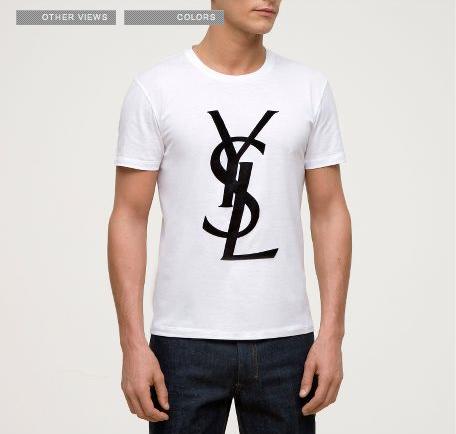 Emm pronounced edoublem yves saint laurent logo t shirt for Ysl logo tee shirt