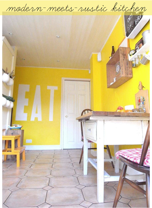 kitchen ive ever seen im inspired by the bold yet delicate approach to decorating this small almost nook sized eating space vibrant yellow walls - Yellow Kitchen Walls
