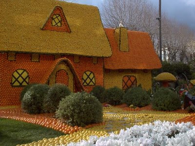 house made out of oranges